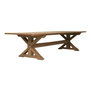 Custom-Made Rift White Oak Dining Table in a Pickled Grey Finish For Sale