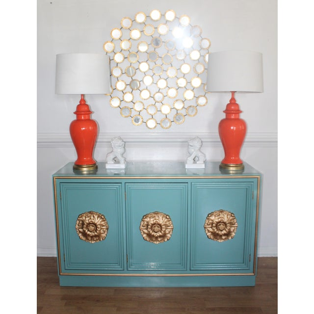 Glamorous sideboard or credenza newly lacquered in a glossy Robins egg blue ,reminiscent of Hollywood Regency style with...