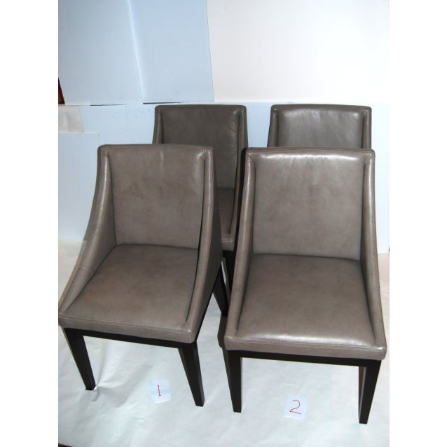 """West Elm """"Curved"""" Leather Dining Chairs- Set of 4 