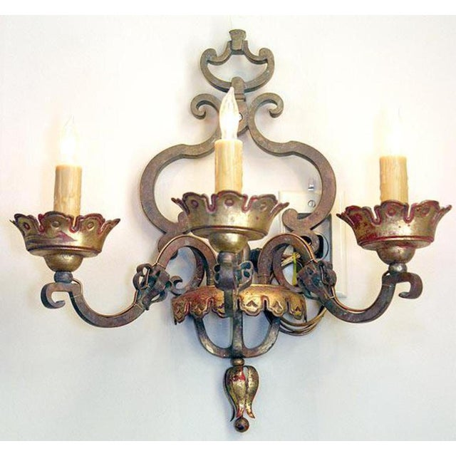 Baroque Italian Bronze Sconces Pair For Sale - Image 3 of 6