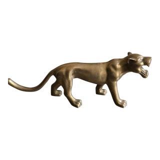 Vintage Huge Solid Brass Panther Figuine 70s Large Cat For Sale