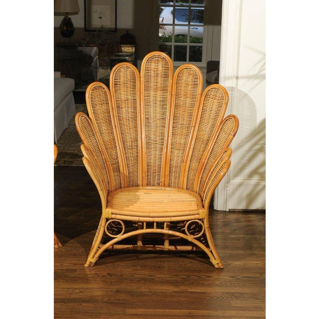 1980s Majestic Restored Pair of Vintage Rattan and Wicker Palm Frond Club Chairs For Sale - Image 5 of 13