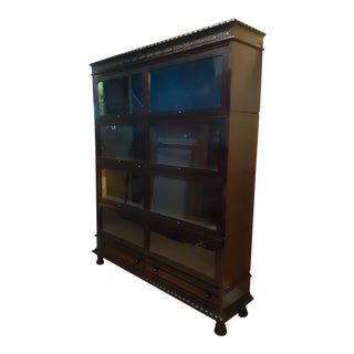 Moving..bids Welcome. 19th Century Century Hardwood Embellished Glass Barrister Bookcase For Sale