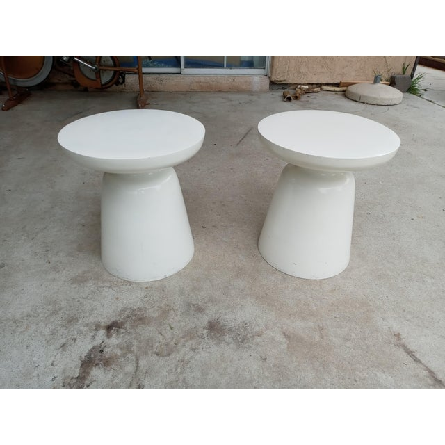 Mid Century Off White Aluminum Stools - a Pair For Sale In San Diego - Image 6 of 7