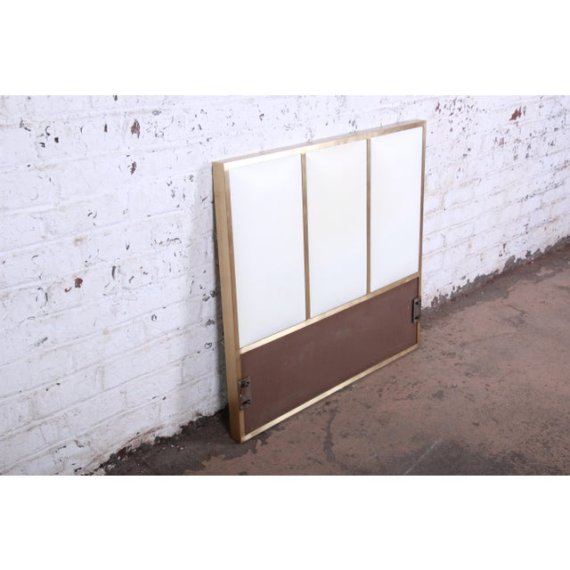 Contemporary Paul McCobb for Calvin Furniture Brass and Naugahyde Twin Size Headboard For Sale - Image 3 of 8