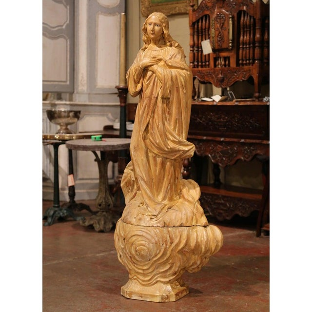 Early 19th Century Early 19th Century French Carved Pine Religious Figure on Carved Cloud Form Base For Sale - Image 5 of 13
