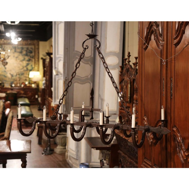 Early 20th Century French Forged Iron Ten-Light Chandelier For Sale In Dallas - Image 6 of 11