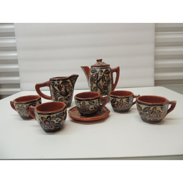 Ceramic Vintage Brown and Orange Talavera Mexican Terracotta Artisanal Coffee Set For Sale - Image 7 of 7