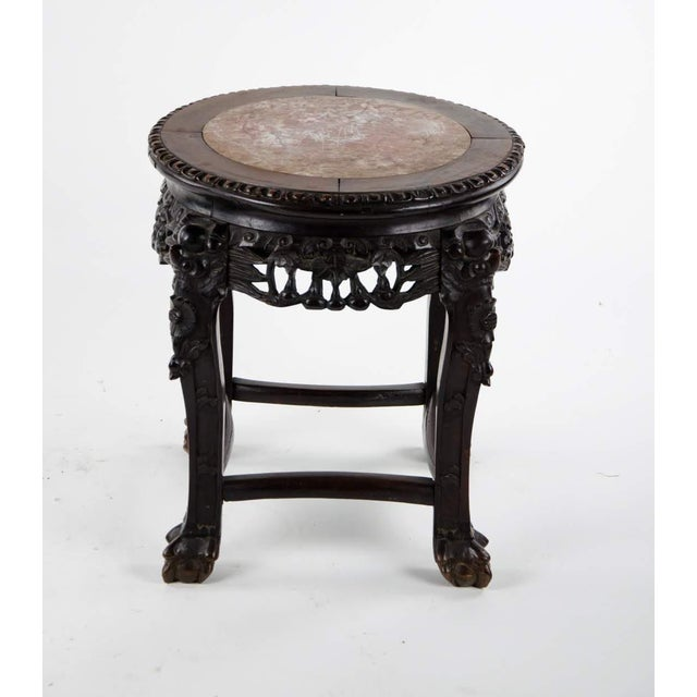 Asian 19th C. Chinese Marble-inlaid Carved Wooden Tabouret For Sale - Image 3 of 12