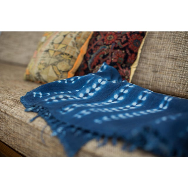Vintage Hand Woven Batik Blue Throw - Image 5 of 5