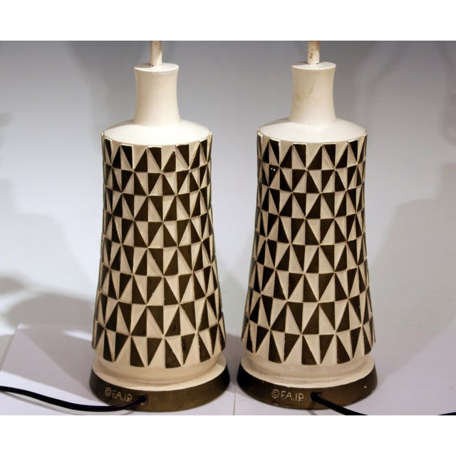 1960s 1960s Vintage Faip Mid-Century Modern Geometric Plaster Chalkware Table Lamps - a Pair For Sale - Image 5 of 11