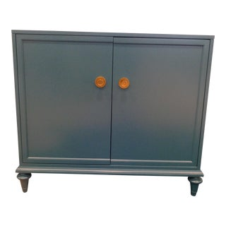 Art Deco Teal Chest With Gold Hardware For Sale
