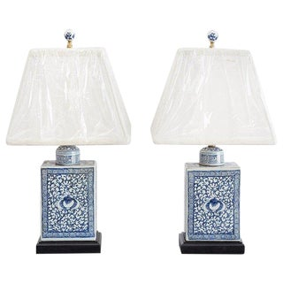 Chinese Blue and White Tea Caddy Jar Lamps For Sale