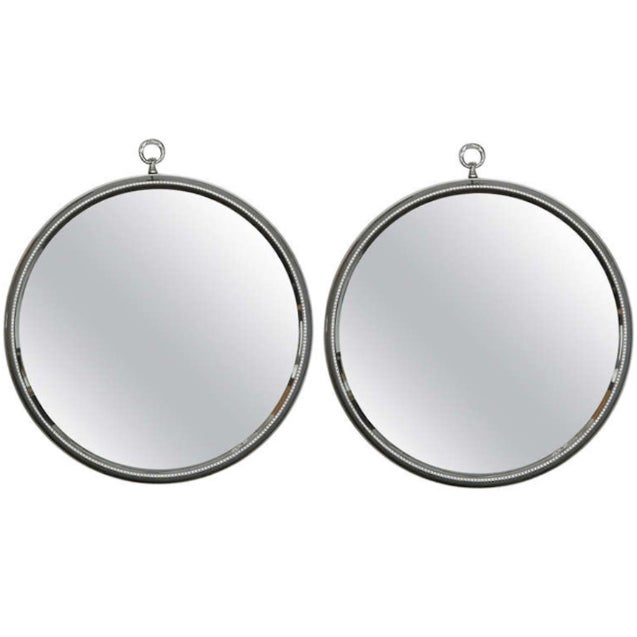 Mid-Century Round Silver Mirrors - A Pair - Image 1 of 6