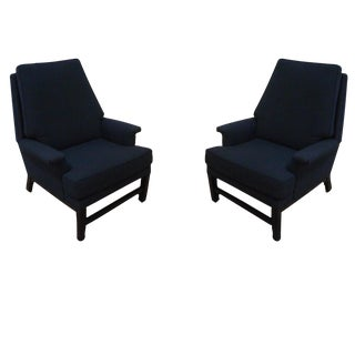 Pair of Black Upholstered Chairs For Sale