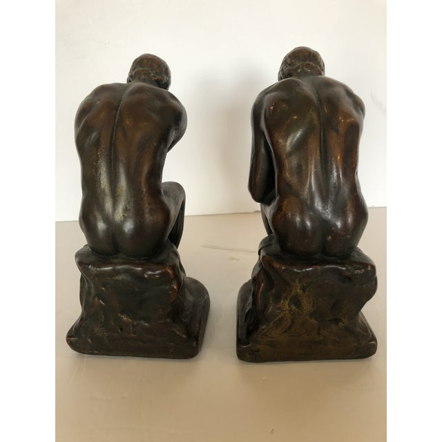 1920s Bronze Clad Male Nude Bookends For Sale - Image 5 of 13