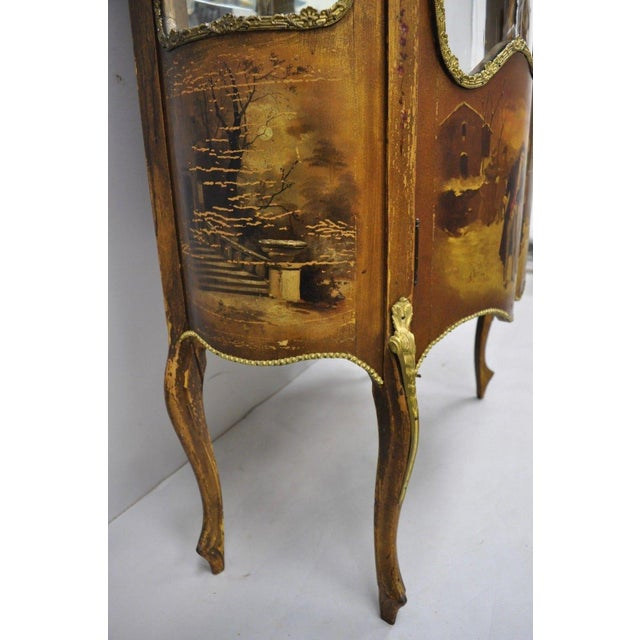 Brown 19th Century French Louis XV Hand Painted Vernis Martin Vitrine China Cabinet For Sale - Image 8 of 13