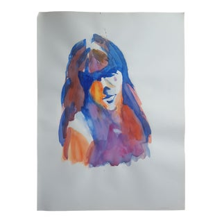 """Abstract Portrait Watercolor - 18"""" x 24"""" For Sale"""