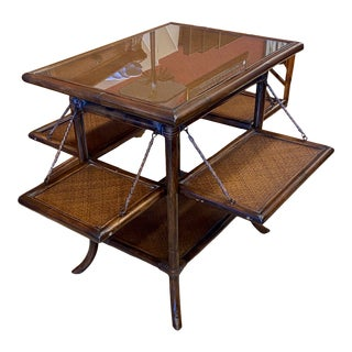Asian Rattan End Table With Drop Shelves For Sale
