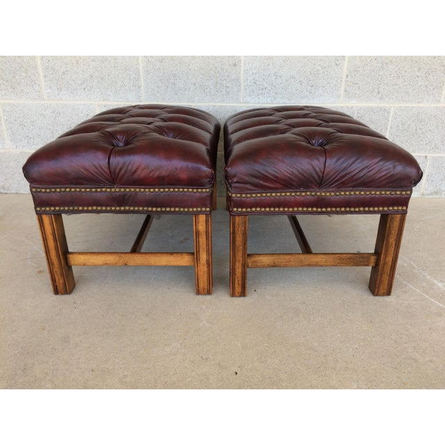 Chippindale Style Stretcher Base Oxblood Footstools A Pair - Image 5 of 9