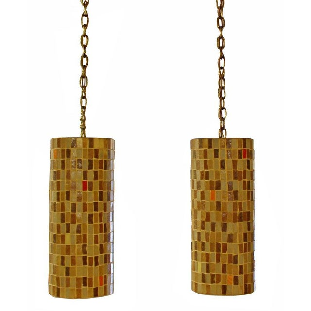 1960s Mid-Century Modern Italian Murano Glass Tile Pendant Light Fixtures - a Pair For Sale - Image 9 of 9