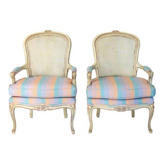 Vintage French-Style Bergere Chairs - a Pair For Sale