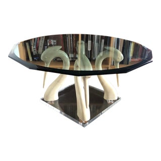 Vintage Boho Glass Coffee Table Lacquer Swans Lucite Base For Sale