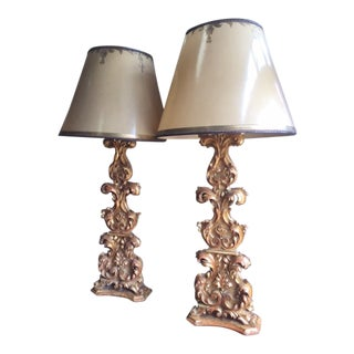 18th Century Carved Giltwood Candles Converted to Lamps - a Pair For Sale