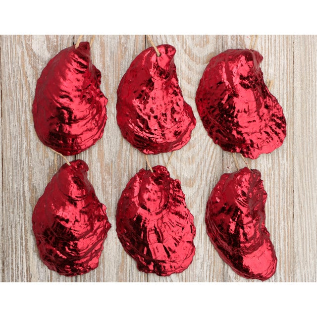 Nautical Red Gilded Oyster Shell Ornaments, Set of 6 For Sale - Image 3 of 8