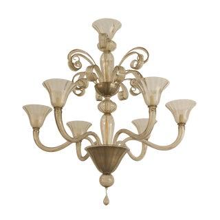 1940s Style Italian Venetian Murano Smoky Glass Chandelier For Sale