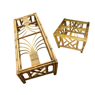 1970's Boho Chic Rattan Coffee and Side Tables - 2 Piece Set For Sale