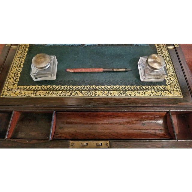 Gold 19c British Rosewood Campaign Writing Slope For Sale - Image 8 of 11