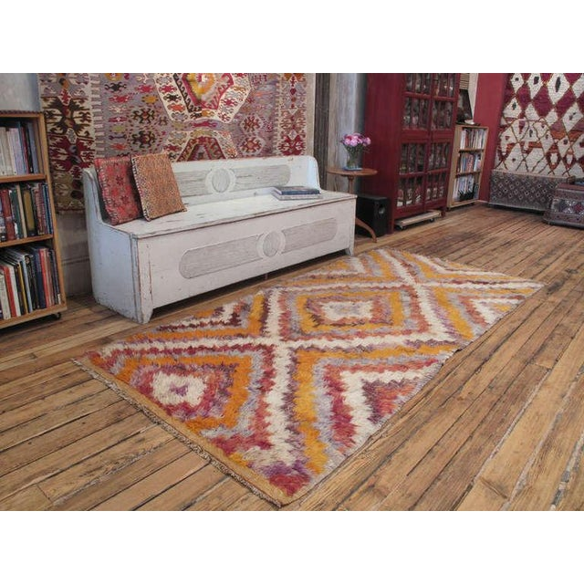 "A old tribal rug from Central Turkey with shaggy pile in the ""Tulu or Yatak"" tradition rugs woven to be used as beds. This..."