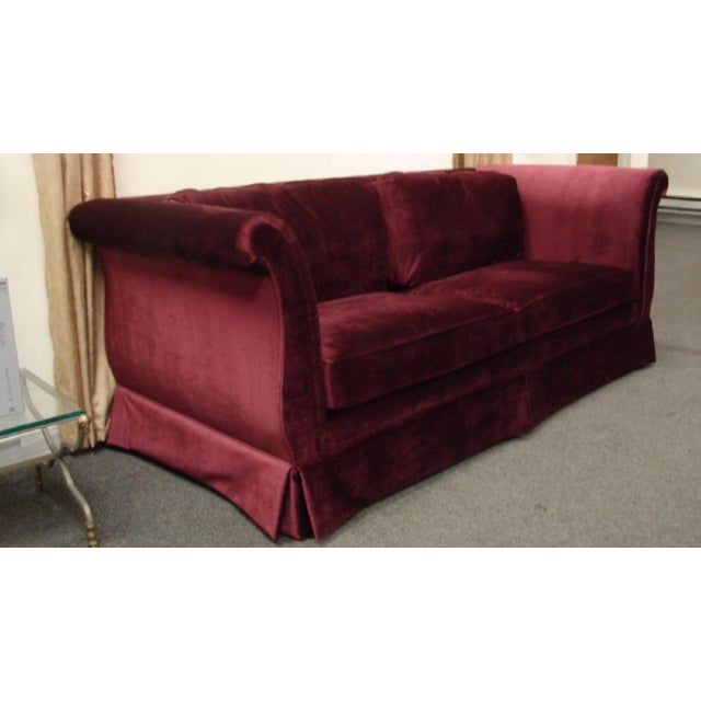 Very beautiful vintage sofa. This sofa has been reupholstered with an elegant Brussel Velvet fabric. Will give any rooms...