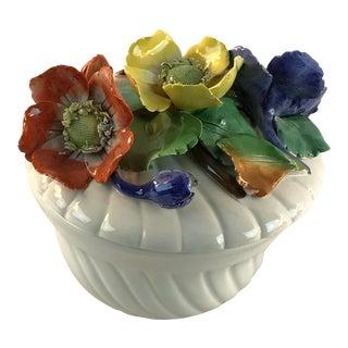 Capodimonte Flower Trinket Lidded Box For Sale