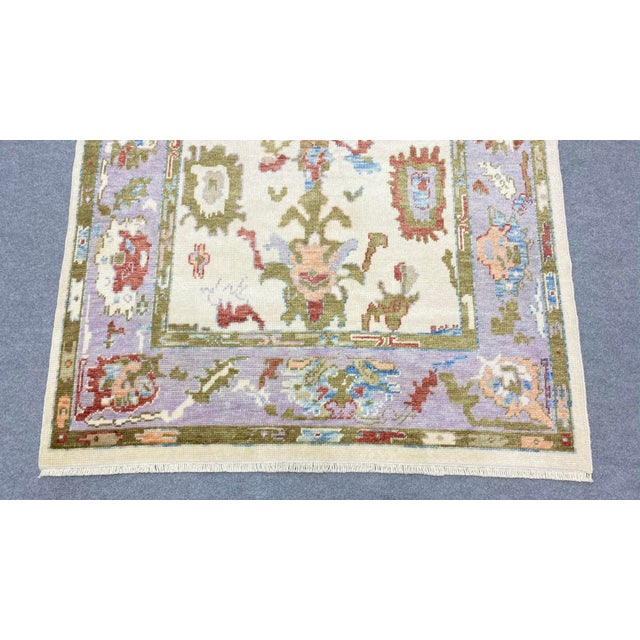 Contemporary Turkish Contemporary Floral Hand-Knotted Oushak Area Rug For Sale - Image 3 of 13