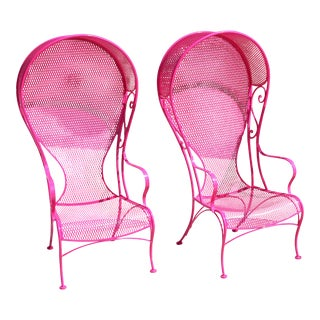 Vintage 1950's Pink Woodard Wrought Iron Chairs - a Pair