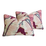 """Image of Cw Stockwell Iconic Martinique Banana Leaf Feather/Down Pillows 22"""" X 16"""" - Pair For Sale"""