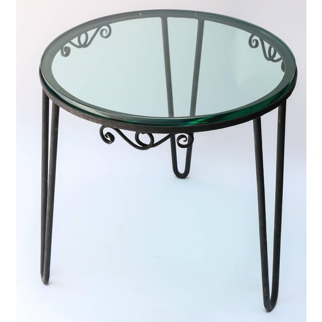 1960s 1960s Italian Round Metal Side Table With Glass Top For Sale - Image 5 of 7