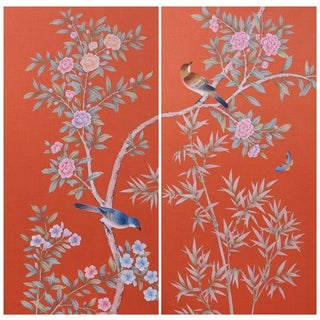 Hand Painted Chinoiserie Silk Panels - Pair