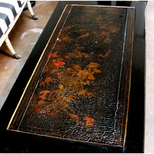 1980s A French Chinoiserie Black Lacquer Coffee Table For Sale - Image 5 of 5