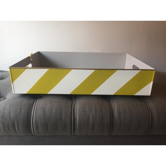 Green Stray Dog Designs Striped Chelsea Tray For Sale - Image 8 of 8