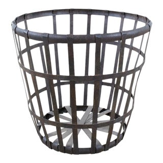 Rustic Round Metal Planter For Sale