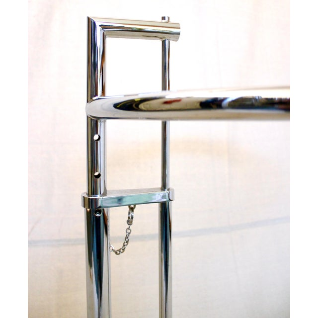 Chrome 20th Century Modern Eileen Gray Chrome and Glass Adjustable Side Table For Sale - Image 7 of 10