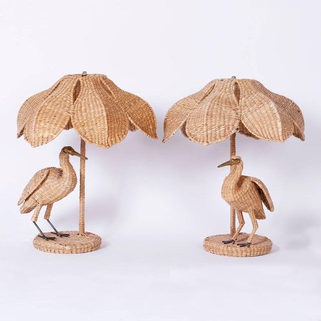 British Colonial Mario Lopez Torres Wicker Egret Table Lamps - a Pair For Sale - Image 3 of 10