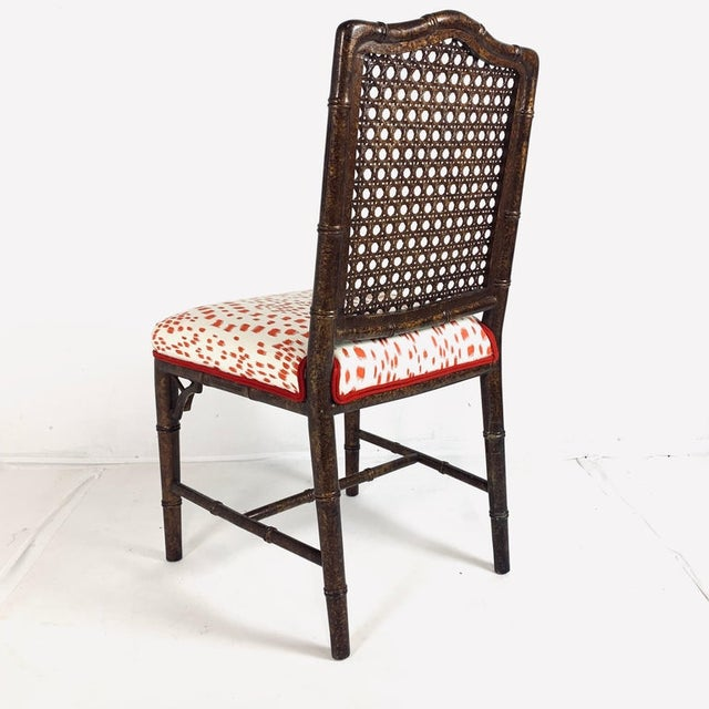 Wood Set of 6 Upholstered Faux Bois Bamboo Chinese Chippendale Cane Dining Chairs For Sale - Image 7 of 13