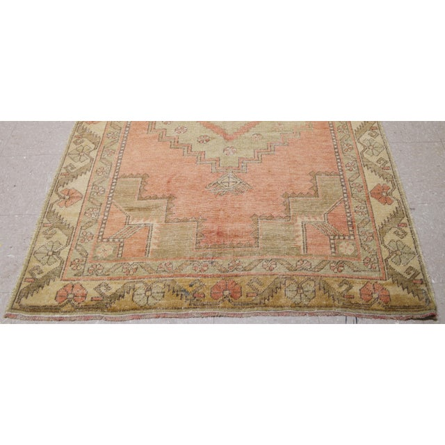 "Vintage Turkish Oushak Rug,4'4""x10'6"" For Sale - Image 4 of 6"