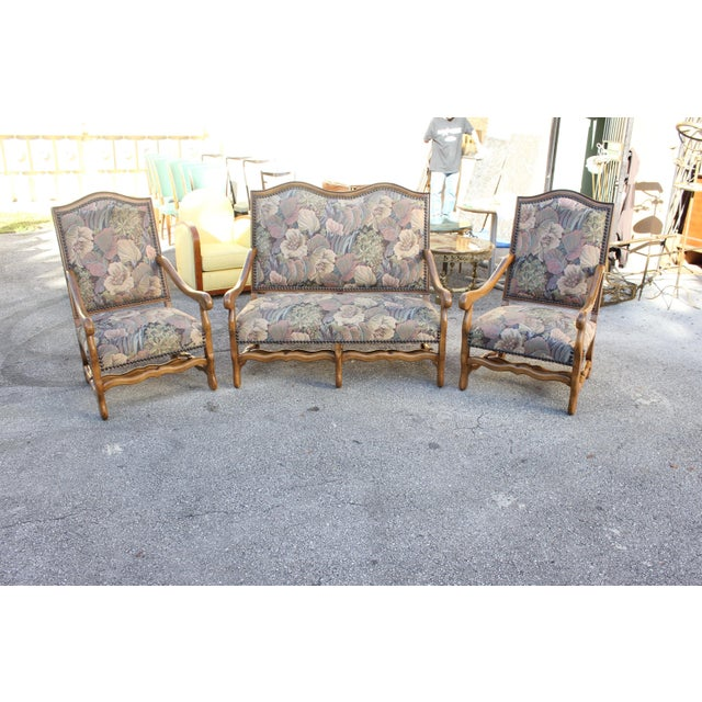 1900s Louis XIII Style Os De Mouton Walnut Settee and Armchairs - Set of 3 For Sale In Miami - Image 6 of 11