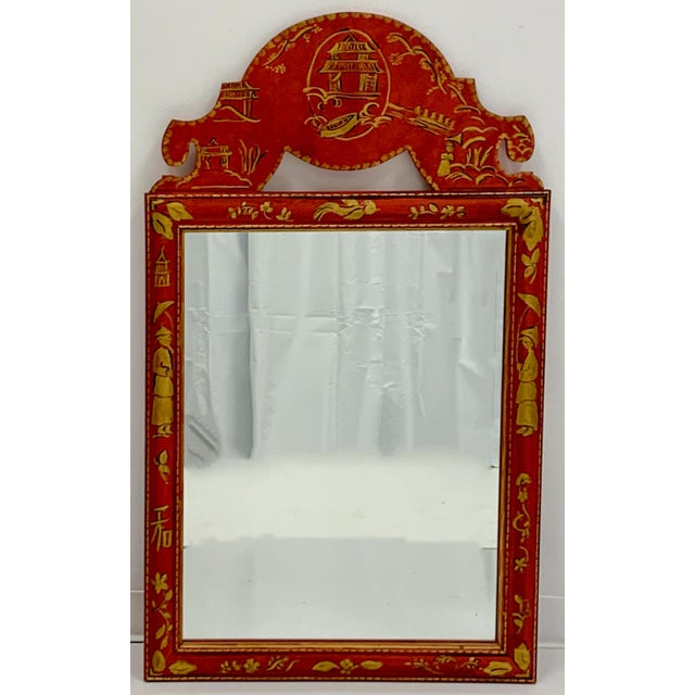 Mid 20th Century Pair of Hand Painted Chinoiserie Mirrors For Sale - Image 5 of 7