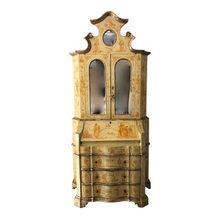19th Century Chinoiserie Mirrored Secretary Bookcase For Sale